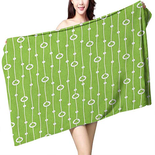 flymeeo Printed Bath Towel Irish Cute Trifolium on Vertical Wavy Stripes with Dots Good Luck Fortune Symbol W10 xL39 Suitable for bathrooms, Beaches, Parties ()