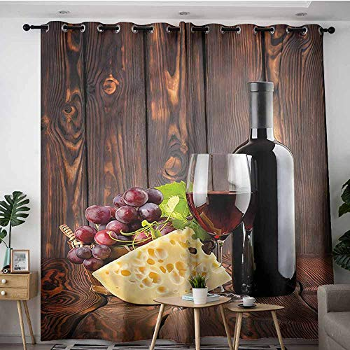 AndyTours Curtains for Living Room,Wine Cabernet Bottle Cheese,W72x84L