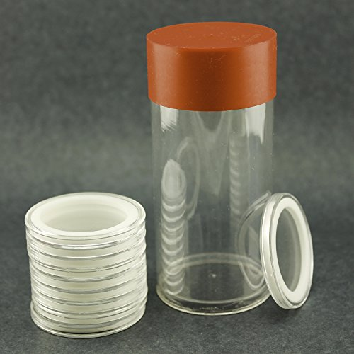 (1) Airtite Coin Holder Storage Container & (10) White Ring 16mm Air-tite Coin Holder Capsules for 1/10oz American Gold Eagles