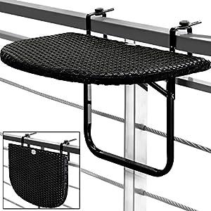 Balcony Hanging Table Space Saving Folding Height Adjustable Black Patio  Deck Railing Poly Rattan Garden Furniture