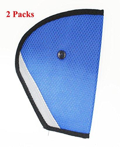 KAMSOL Car Seat Belt Triangle Adjuster Fixator Child Kids Safety Cover Harness Mash Pad Comfortable Protector Seatbelt Clip for Adult Children Set of 2 Blue ()