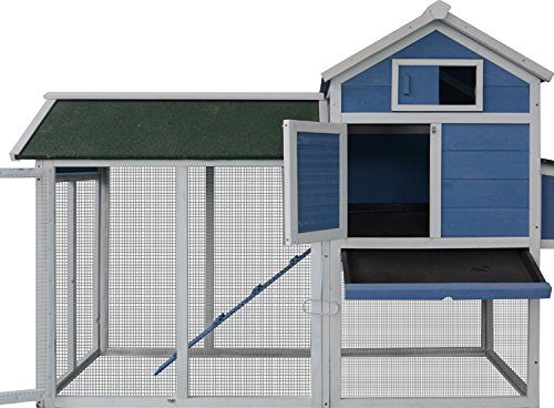 MCombo 0310 Deluxe Wooden Chicken Rabbit Poultry Coop Hen House Pet Cage Backyard, Blue by MCombo