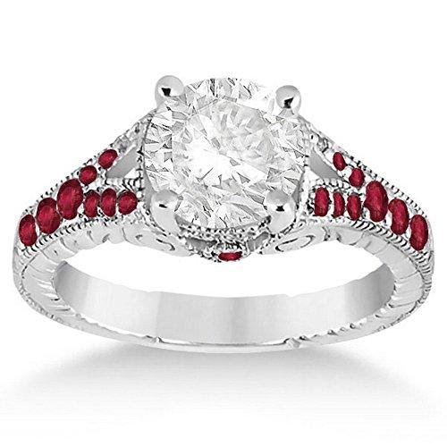 Estate Platinum Ruby - Antique Vintage Style Art Deco Filigree Ruby Engagement Ring Platinum Setting (0.33ct)