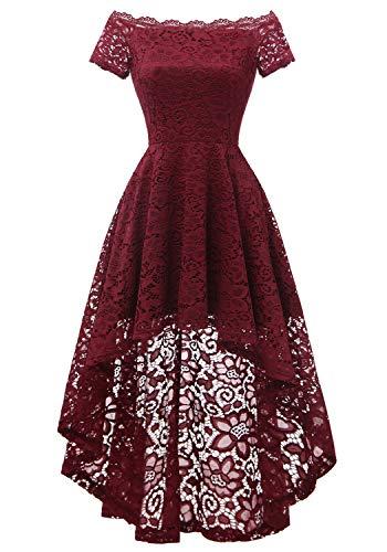 Dressystar 0042 Lace Off Shoulder Hi-Lo Short Sleeve Formal Cocktail Dress Burgundy XXL -