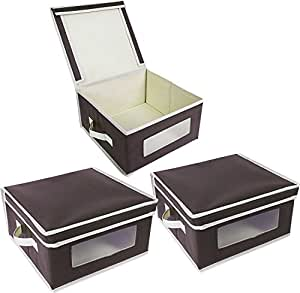 juvale foldable fabric storage bins organization storage cube boxes clear windows. Black Bedroom Furniture Sets. Home Design Ideas