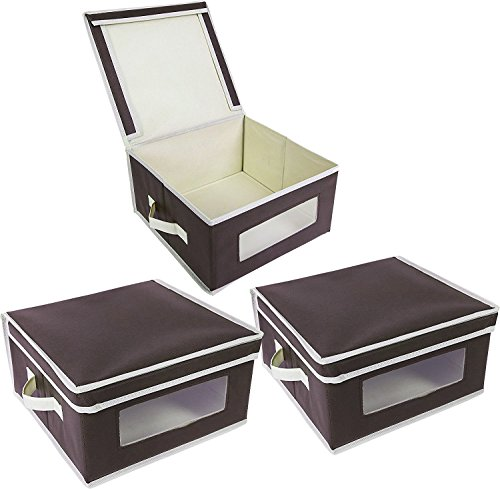 Juvale Foldable Fabric Storage Bins - Organization Storage Cube Boxes with Clear Windows & Lids - for Household Items, Clothing, Office Supplies, More - Brown/Beige by Juvale