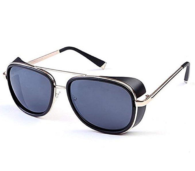 46fc5abe26 (Golden Frame - Gray Lens) Sunglasses - Iron Man - Steampunk - Tony Stark -  Retro - Man - Unisex: Amazon.co.uk: Clothing