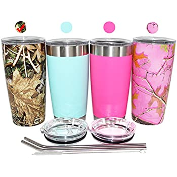EPIC Green Camo Tumbler Stainless Steel Vacuum Insulated Powder Coated Cup and Coffee Mug with 2 Lids and 2 Stainless Steel Straws, 20 oz- Green Camouflage Tumbler