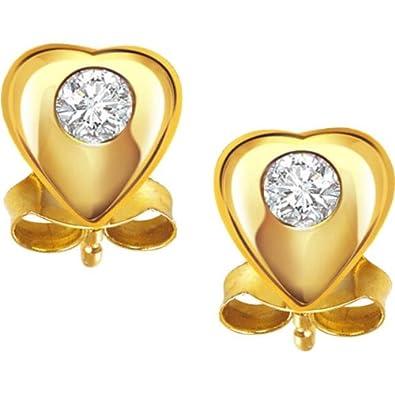 eda657d34164 Buy Surat Diamond 18K Yellow Gold Diamond Stud Earrings Online at Low  Prices in India