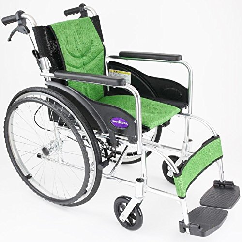 自走用車いす 車イス 車椅子 「ZEN-禅-ライト」(グリーン) 軽量 コンパクト 背折れ 折りたたみ ノーパンクタイヤ メーカー保証1年付き カドクラ G201-GR B06Y64ZQPS グリーン グリーン