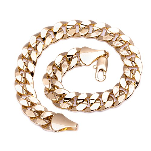 [Luxury Curb Bracelet - 14k Gold Plated - Mens - 10mm, 8