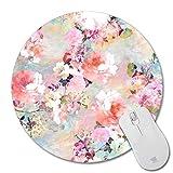 Non-Skid Rubber Pad Personalized Round Desktop Mousepad, Colorful Flower design