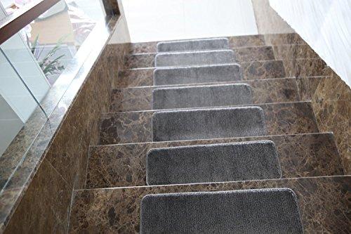 Ottomanson Softy Solid Dark Grey Set of 14 Skid Resistant Rubber Backing Non Slip Carpet (9