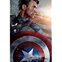 14 x 21 inch or 24 x 36 inch Captain America The First Avenger Waterproof Poster (Bathroom, Outdoors wherever you like) Warrior By GABRIELA (14x21 inch)
