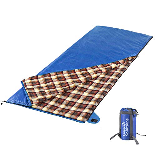 (Seatopia Cotton Flannel Sleeping Bag, Warm and Comfortable, Envelope with Compression Sack, Portable for Camping and Hiking, 3-4 Seasons, Blue)