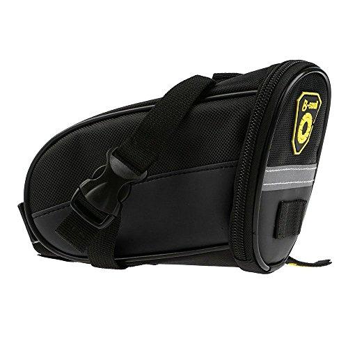 Sicher Reflex-Streifen Bike Fahrrad Sattelstütze Tasche Sattel-Beutel Sitztasche(Schwarz)