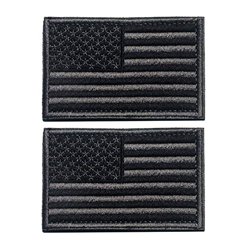 American Flag Patch, Tactical Military Flag Patches, American Military Flag Emblem Patch. (Black Gray)