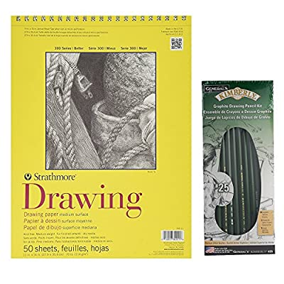 Strathmore 300 Series Drawing Paper Pad and General Pencil Kimberly Graphite Pencil Kit