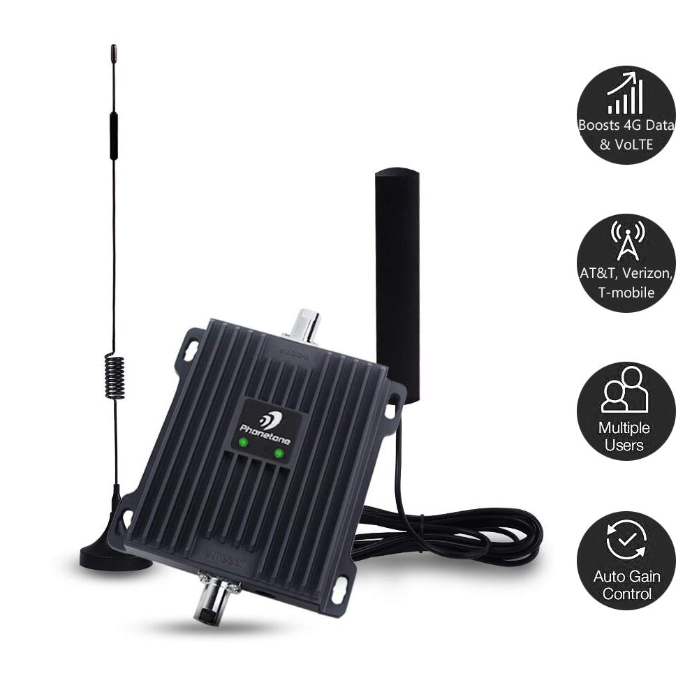 Cell Phone Signal Booster for Car, RV and Truck - Enhance 4G LTE Voice and Data Signal for Verizon, AT&T and T-Mobile - Dual 700MHz Band 12/13/17 Cellular Repeater Antenna Kit for Vehicle by Phonetone