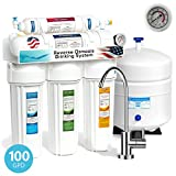 Express Water 5 Stage Under Sink Reverse Osmosis Filtration System 100 GPD RO Membrane Filter Modern Faucet Pressure Gauge Ultra Safe Residential Home Drinking Water Purification One Year Warranty
