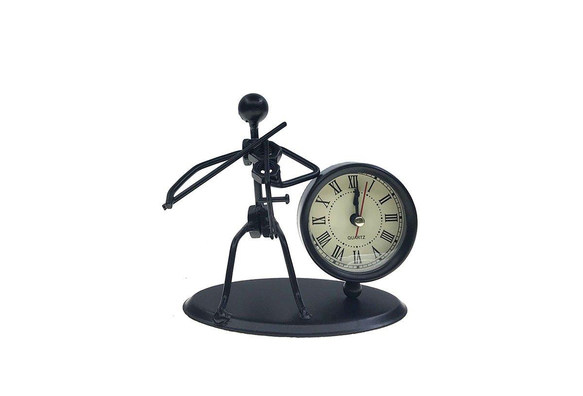 Ahkea Metal Art Musician Clock Figure Ornament