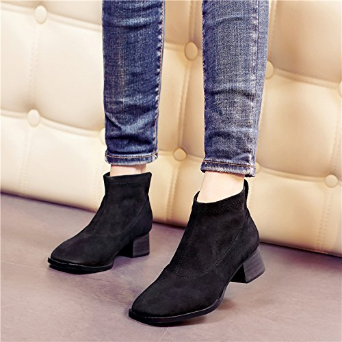 NSXZ Autumn and winter new stretch cashmere round head short boots suede ankle boots BLACK-90160CM