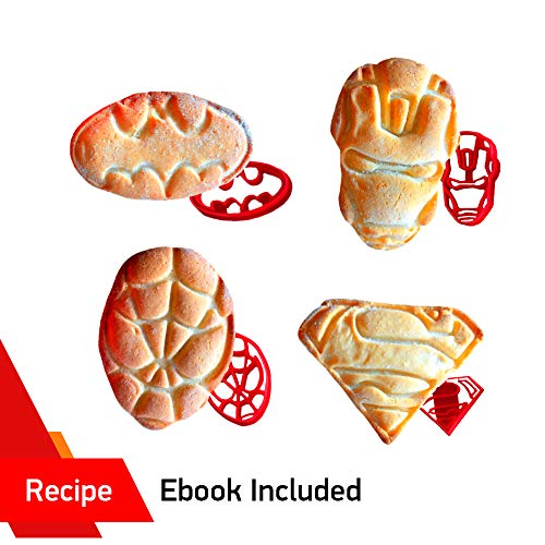SUPERHERO COOKIE CUTTERS by WNF Craft - For Extra Fun Baking - Includes Iron Man Superman Spider-man Batman molds. Safe and Plastic. Perfect for Making Cookies, Mini Sandwiches, Shapped Cheese