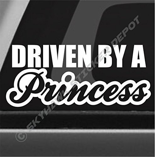 Driven By A Princess Bumper Sticker Vinyl Decal Woman Lady Driver Car Truck  SUV JDM Window