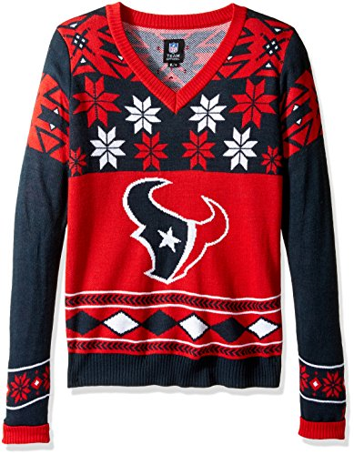 HOUSTON TEXANS WOMENS BIG LOGO V-NECK SWEATER SMALL by Forever Collectibles