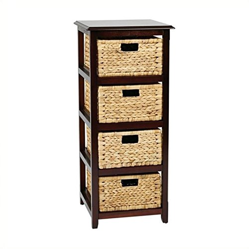 Office Star Seabrook 4-Tier Storage Unit with Natural Baskets, Espresso Finish