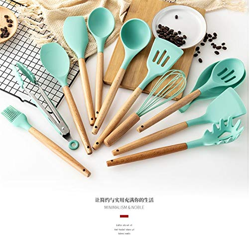 XSL 12 Pcs Home Kitchen Utensils Sets Silicon Cooking Tools with Wooden Handles Non-Slip Gadgets Turners Ladle Tongs Spoon Spaghetti Server Blue