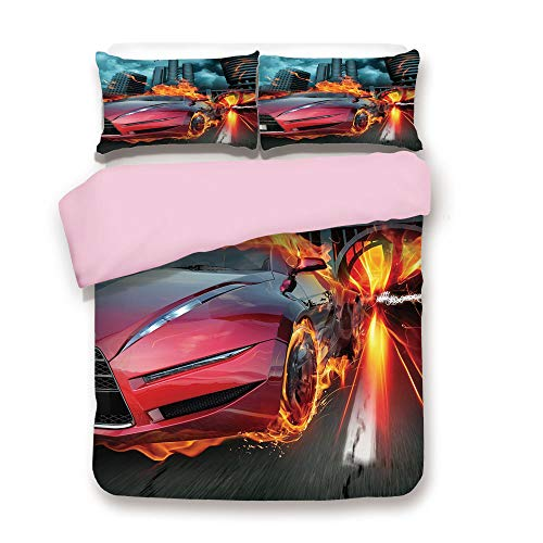 (Pink Duvet Cover Set,Twin Size,Hot Red Concept Car in Flames Blazing Tires Building and Birds Speeding Fast Decorative,Decorative 3 Piece Bedding Set with 2 Pillow Sham,Best Gift For Girls Women,Red)