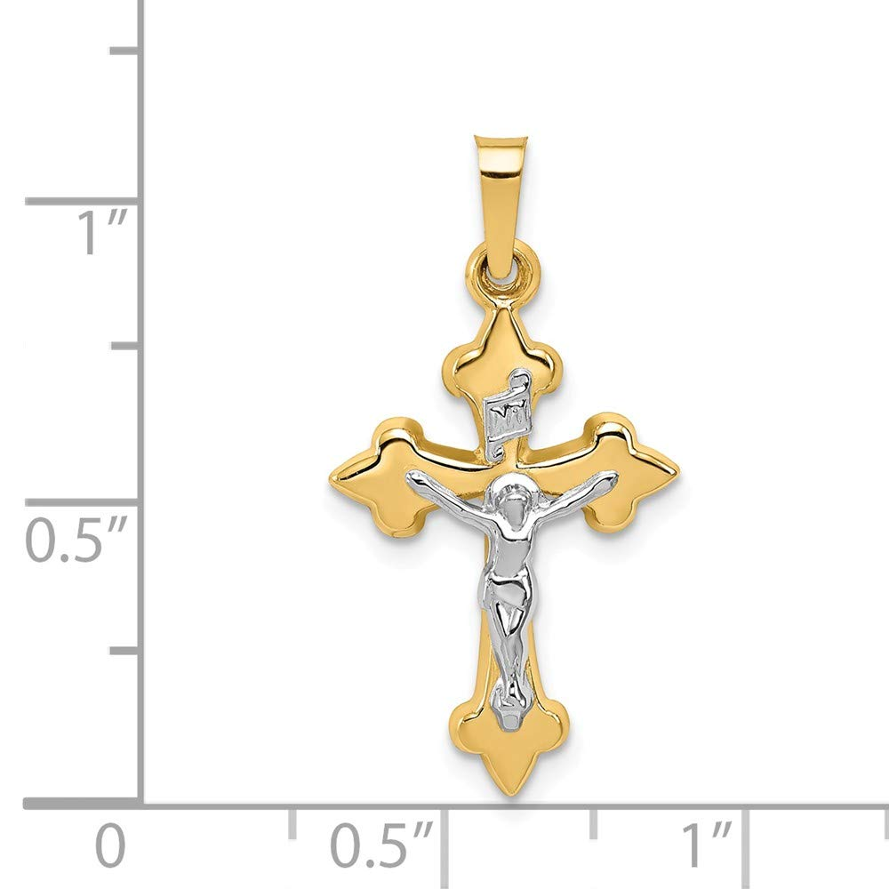 Mia Diamonds 14k Gold Two-tone Polished Fleur de Lis INRI Crucifix Pendant