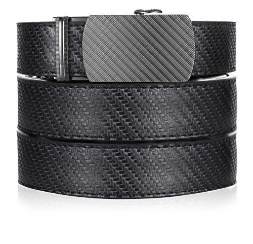 Marino Ratchet Leather Dress Belt For Men - Adjustable Click Belt with Automatic Sliding Buckle - black -Adjustable from 28