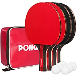 Ping Pong Paddle Set of 4 by PONGBEAST x 4-Player Premium Table Tennis Set x Includes 6 Table Tennis Balls and Carrying Case - Professional and Recreation Games - Indoor and Outdoor Ping Pong Paddles