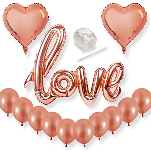 Rose Gold Letter - Bachelorette Party Decorations Rose Gold Love Balloons Set - Perfect for Bridal Shower, Wedding Decor and Engagement Parties Supplies - Large 32 Inch Mylar Letter Balloons Photo Booth Props