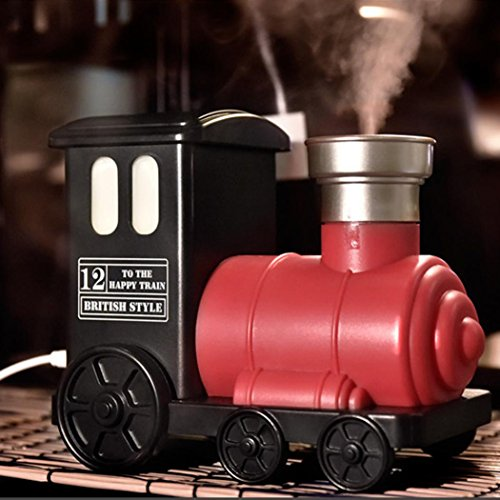 Lotus.flower Creative Steam Train USB Powered Air Aromatherapy Humidifier Ultrasonic Spray Diffuser for Home Office (Red)