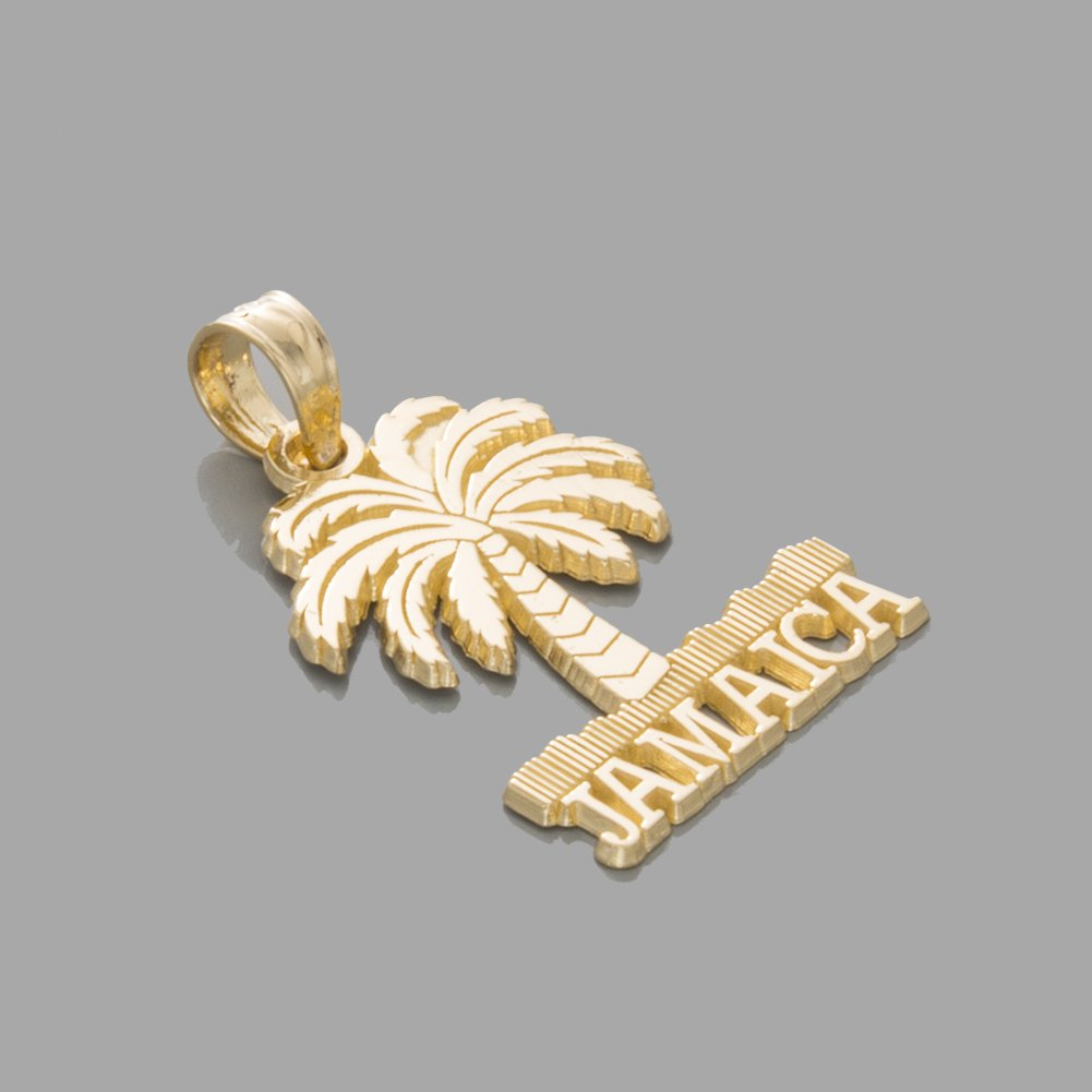 14k Yellow Gold Travel Charm Pendant, Jamaica Under Palm Tree by Million Charms (Image #2)