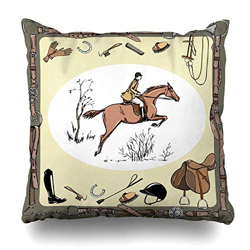 Ahawoso Throw Pillow Cover Square 16x16 Inches Snaffle Brown Belt Equestrian Sport Horse Rider England Dressage Steeplechase Recreation Bit Bridle Cushion Case Home Decor -