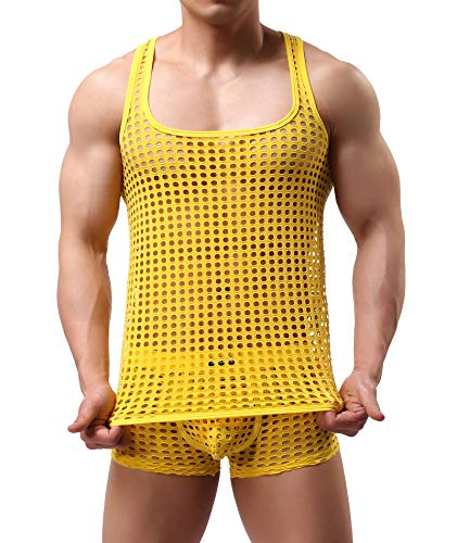 Yellow Mesh Tank Top - Mendove Men's Mesh See Through Muscle Fishnet Tank Top Underwear Size Medium Yellow