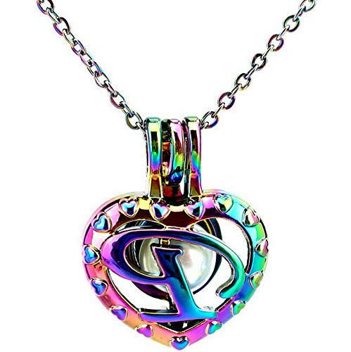 (Werrox Rainbow Color 26 Letter Alphabet Pearl Beads Cage Locket Pendant Necklace Charms | Model NCKLCS - 25099 |)