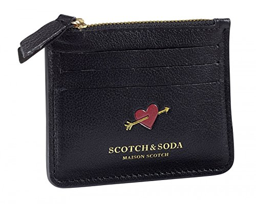 SCOTCH & SODA Leather Card Holder In Various Combos Black