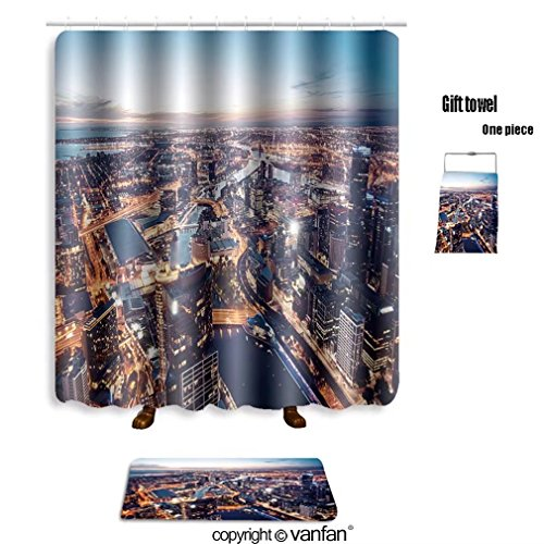 Indian Costume Melbourne (vanfan bath sets with Polyester rugs and shower curtain a view of melbourne at night victoria austral shower curtains sets bathroom 72 x 88 inches&31.5 x 19.7 inches(Free 1 towel and 12 hooks))