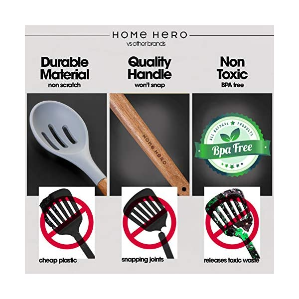 Home Hero Silicone Cooking Utensils Kitchen Utensil Set - 8 Natural Acacia Wooden Silicone Kitchen Utensils Set… 3