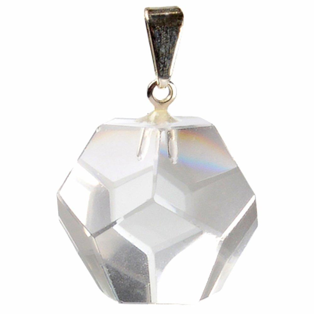 Pendentif Dodécaèdre en Cristal de Roche Vibrations Cristallines PENCDR10