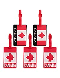 Canada Flag Luggage Tags, Colorful Plastic PVC Luggage Tags ID Tags Travel Suitcase Labels Adjustable Strap Business Card Holder