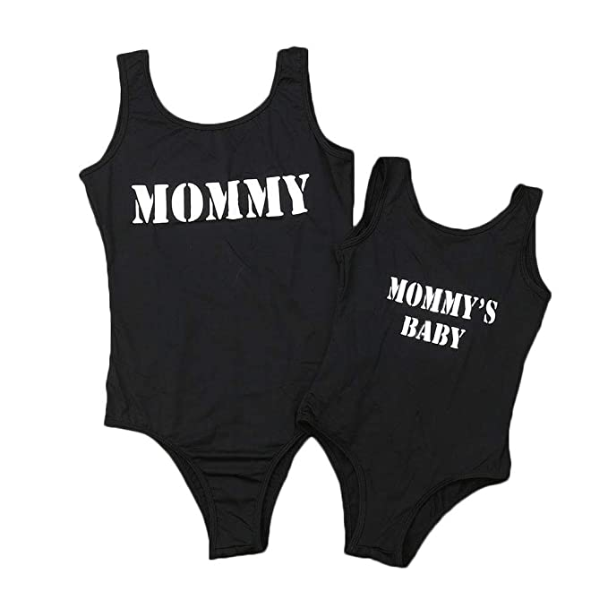 Mother Girl Swimwear Mommy and Me Matching One Piece Beach Wear Family Letters Print Cross Back Sporty Monokini