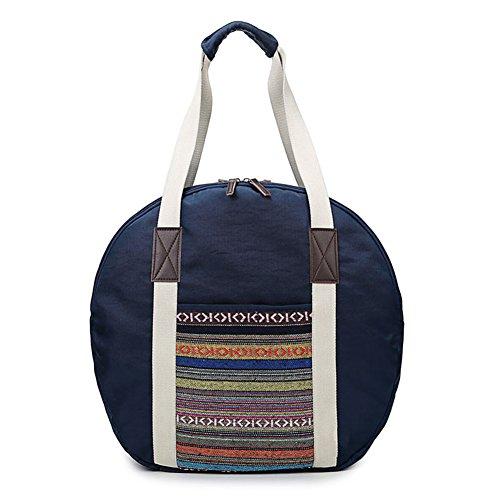 Yiuswoy Faltbare Oxford Cloth Reise-Gepäck Leichtgewicht Reisetaschen Weekender Tasche Sporttaschen Seesack - Dunkelblau Streifen