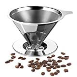 Pour Over Coffee Cone, Reusable Coffee Filter with Stainless Steel for Pouring Over Coffee 2-4 Cups, Coffee Dripper
