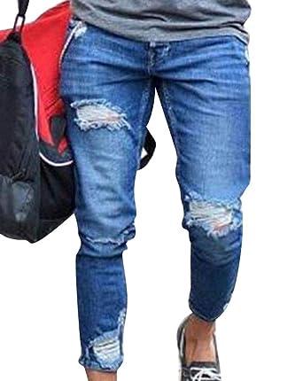 12102736ed3e3 WanYangg Jeans Déchiré pour Homme Mode Casual Troué Jean Craqué Délavé  Pants Elastique Extensible Skinny Biker Déchiré Usé Slim Fit Jean Pantalon  en Denim ...